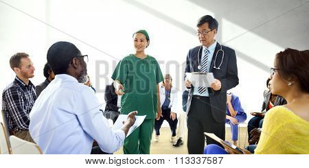 People Communication Doctor Medication Diagnosis Counselor Concept