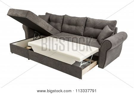 Upholstery Sofa Corner Set With Pillows Isolated On White Background With Clipping Path