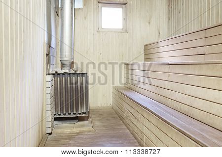 The interior of the sauna in the hotel