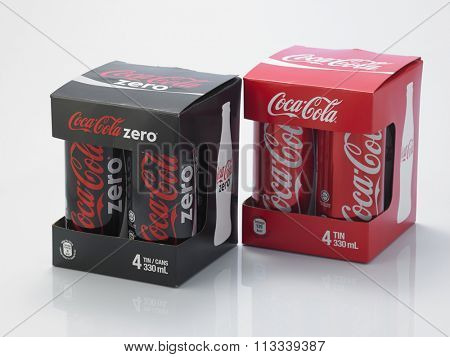 Kuala Lumpur Malaysia December 28, 2015,new slim and tall design of cocacola zero and cocala original can