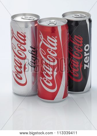 Kuala Lumpur Malaysia December 28, 2015,group of new slim and tall design of cocacola cans