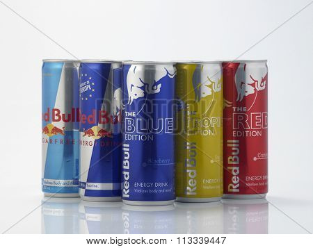 Kuala Lumpur Malaysia December 28, 2015,group of Red Bull Energy Drink on white background