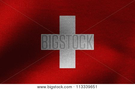 Closeup of ruffled Switzerland flag