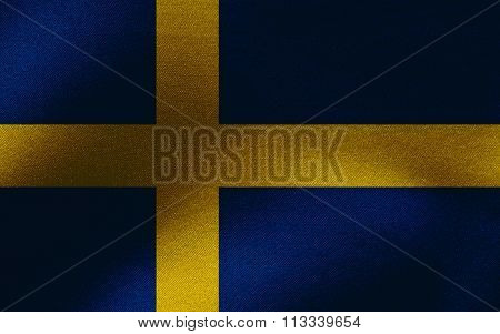 Closeup of ruffled Sweden flag