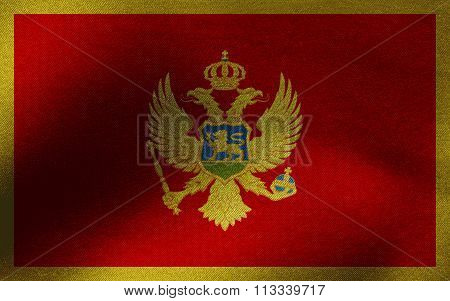 Closeup of ruffled Montenegro flag