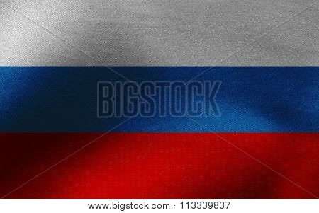 Closeup of ruffled Russian Federation flag
