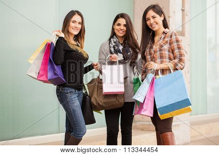 Pretty Women Doing A Lot Of Shopping