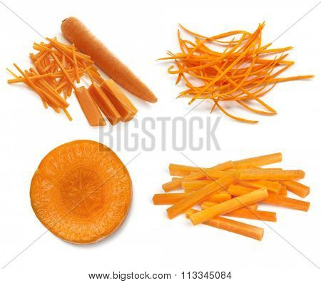 Carrots collection isolated on white.  Whole and cut, sticks, slices, and julienned.