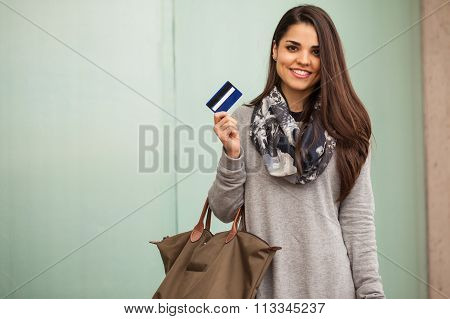 Pretty Girl Showing Her Credit Card