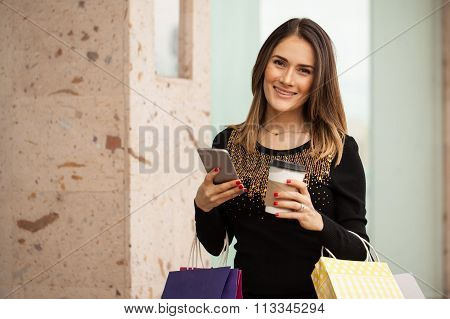 Using A Smartphone While Doing Some Shopping