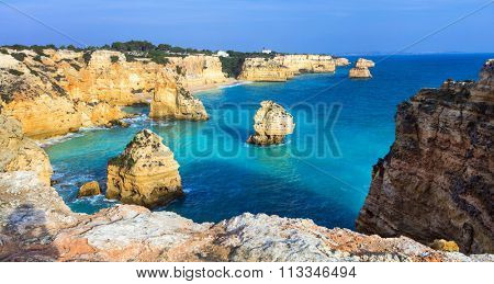 Praia da Marinha  - impressive beach with rocks in Algarve, Portugal