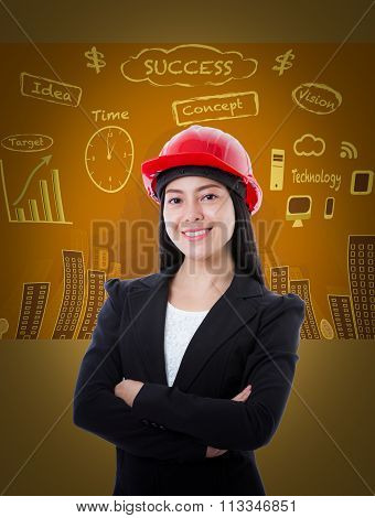 Young Business Woman Has Many Ideas On Business Background.