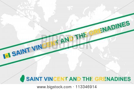 Saint Vincent And The Grenadines Map Flag And Text Illustration