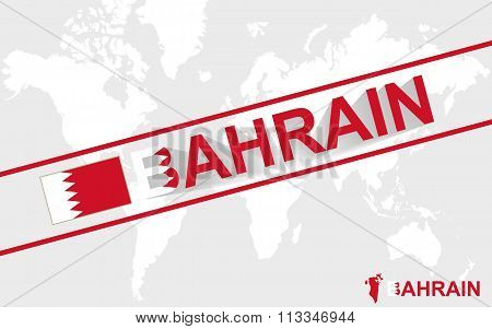 Bahrain Map Flag And Text Illustration