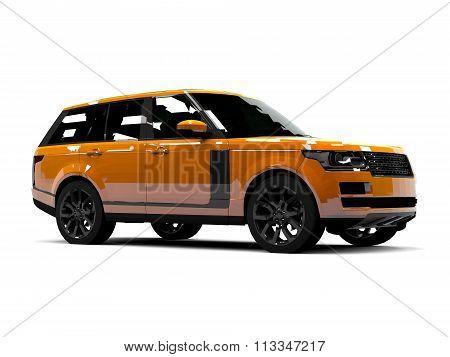 Large luxury SUV orange. Front and side. White isolated background.