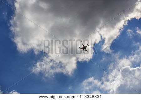 Varna, Bulgaria - July 05 ,2015: Flying Drone Quadcopter Dji Phantom 2 With Digital Camera Gopro Her