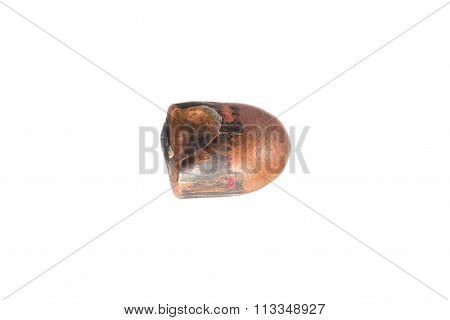 A Used And Flattened Copper Plated 9Mm Bullet.