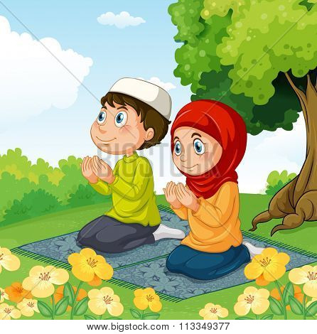Muslim couple praying in the park illustration
