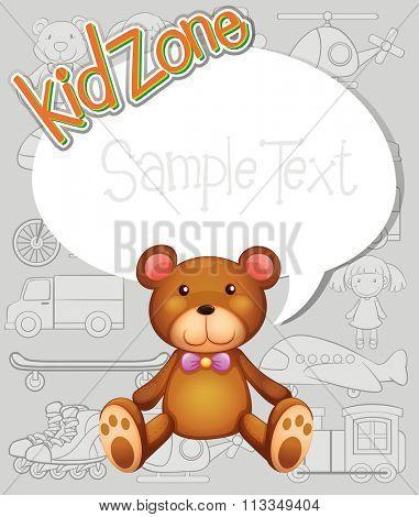 Border design with teddy bear illustration