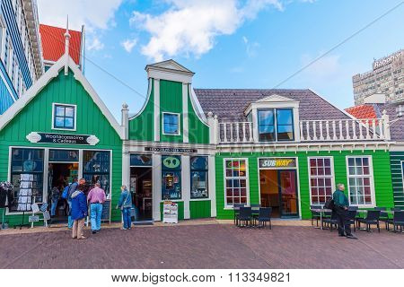 ZAANDAM, NETHERLANDS - SEPTEMBER 02, 2015: unique buildings in Zaandam with unidentified people. This buildings beside the Inntel Hotels are designed by WAM architects.