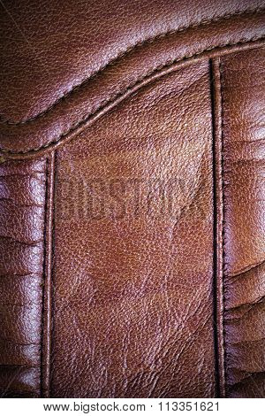 brown sewed leather
