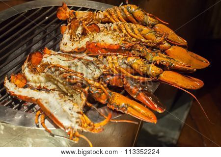 Lobster On The Grill In Wedding Dinner Party