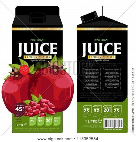 Template Packaging Design Pomegranate Juice