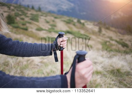 People Holding Walking Sticks.