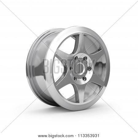 Chrome Car Disc Isolated On White
