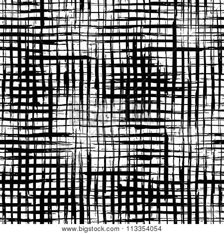 Seamless Pattern Of Thick Checkered Brush Strokes.