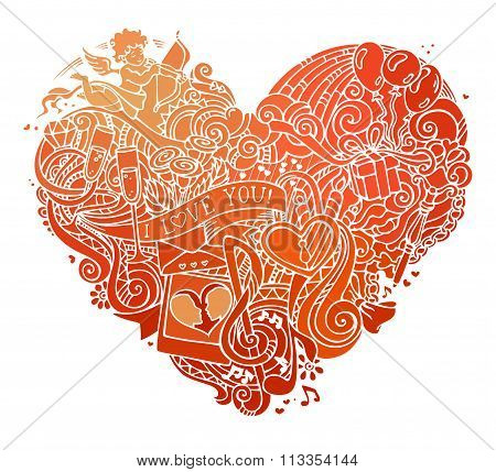 Hand-drawn Red Doodles Heart Isolated On White Background.