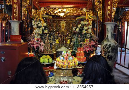 Buddhist Temple Interior In Hanoi, Vietnam