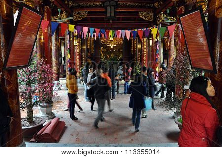 Buddhist Temple Interior In Hanoi, Vietnam