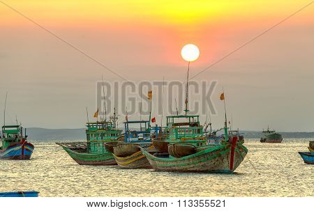 Sunset on the marina fishing village of Binh Thuan