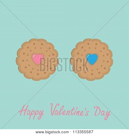 Biscuit Cookie Cracker Couple With Pink And Blue Heart . Happy Valentines Day. Flat Design.