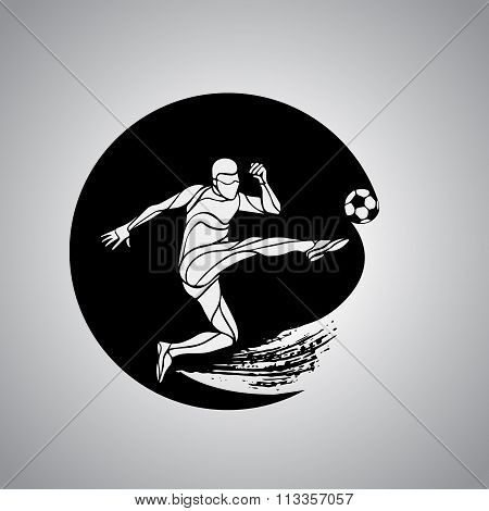 Soccer Player Kicks The Ball. The Colorful Vector Logo Sticker On Black Background.