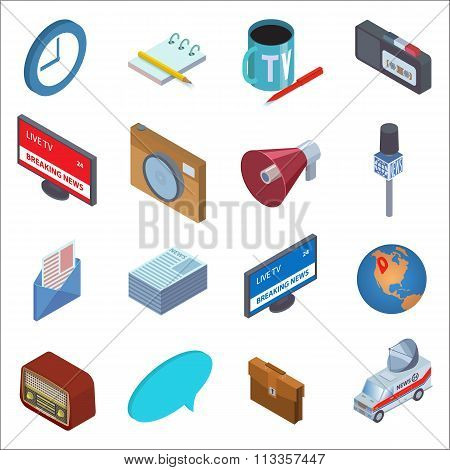 News icons isometric set