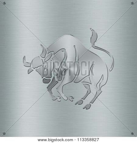 Horoscope Zodiac Sign Taurus In Metal Plate
