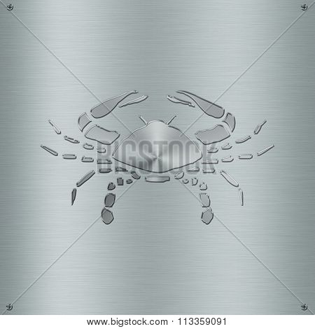 Horoscope Zodiac Sign Cancer In Metal Plate