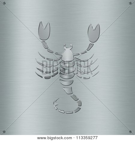 Horoscope Zodiac Sign Scorpio In Metal Plate