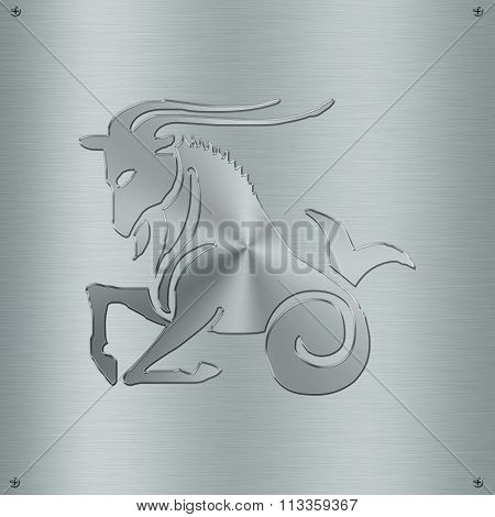 Horoscope Zodiac Sign Capricorn In Metal Plate