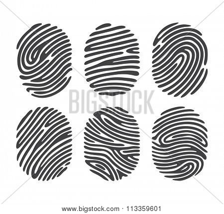 Black finger print set isolated on white background. Elements of identification systems, security conception, apps icons