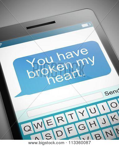 Broken Heart Message Concept.