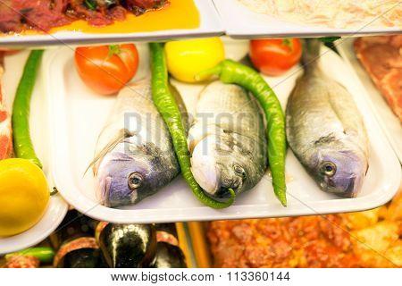 Three fresh fishes on a market in istanbul,turkey.