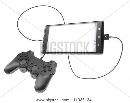 The Joystick Is Connected To The Phone Flying In The Air Isolated On White