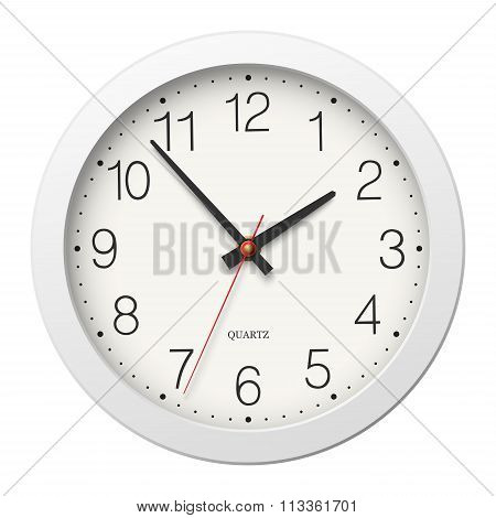 Round Wall Clock With Round Divisions And White Body Isolated