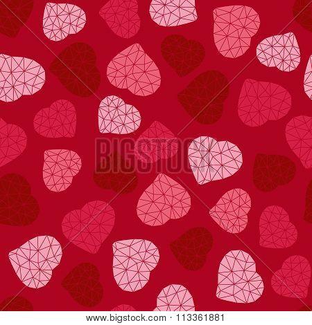 Valentine's Day background. Low-poly polygonal.