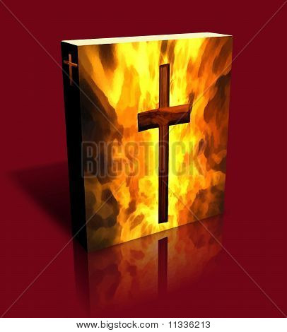 3D Burning Cross Book/Box Red