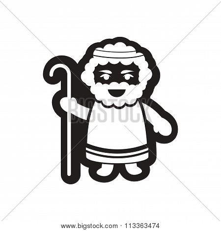 flat icon in black and white father of Jesus