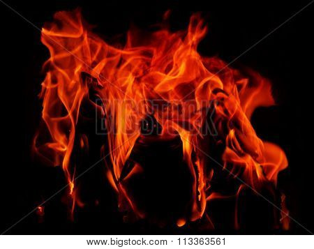 Red  Hot Flames On A Black Background